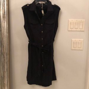 100% cotton faux suede black shirt dress small